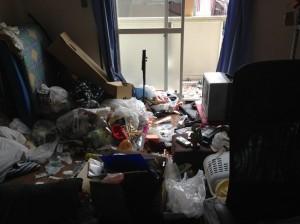 大量ゴミを片付ける前(居間)