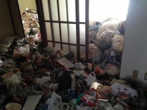 アパートの大量ゴミ掃除前1